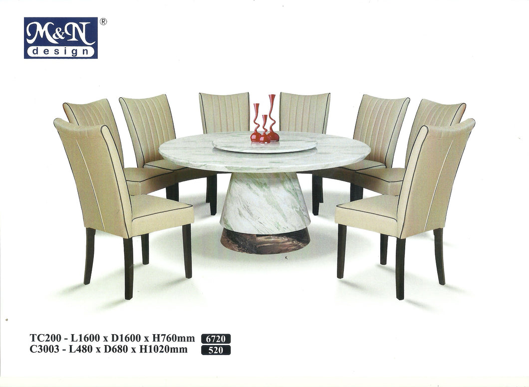 MN-MARBLE DINING TABLE-ROUND-TC200-1.6M
