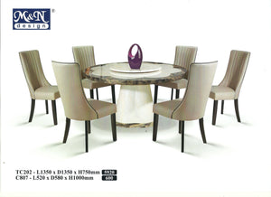 MN-MARBLE DINING TABLE-ROUND-TC202-1.35M