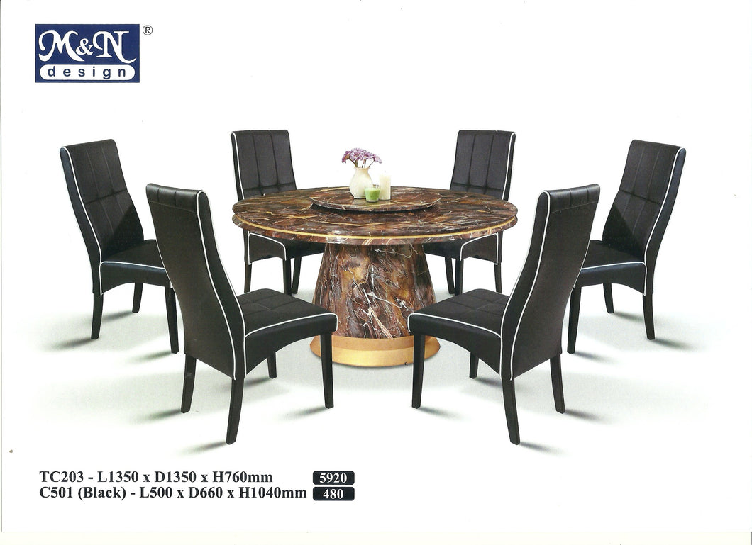 MN-MARBLE DINING TABLE-ROUND-TC203