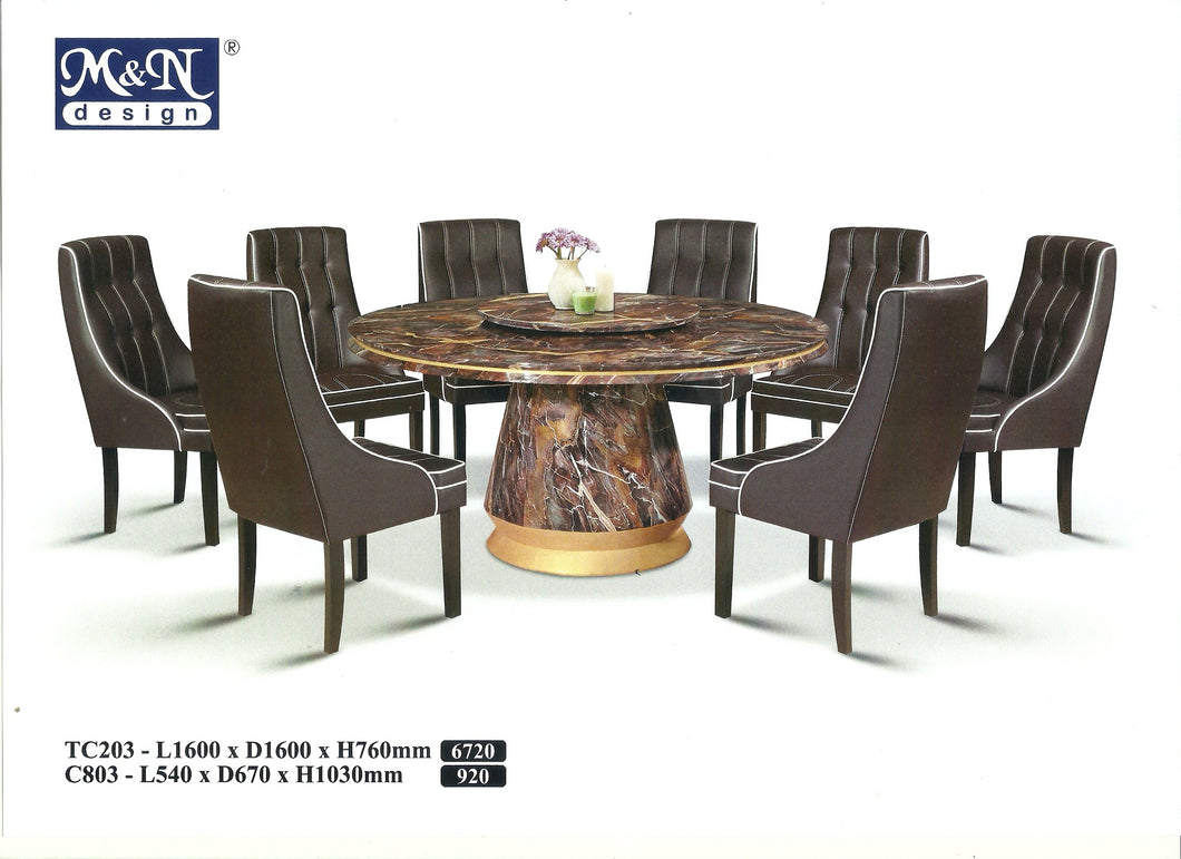 MN-MARBLE DINING TABLE-ROUND-TC203-1.6M