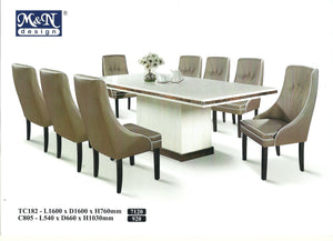 M&N - Marble Dining Table Set - Rectangle - TC182-C805 (1+8)