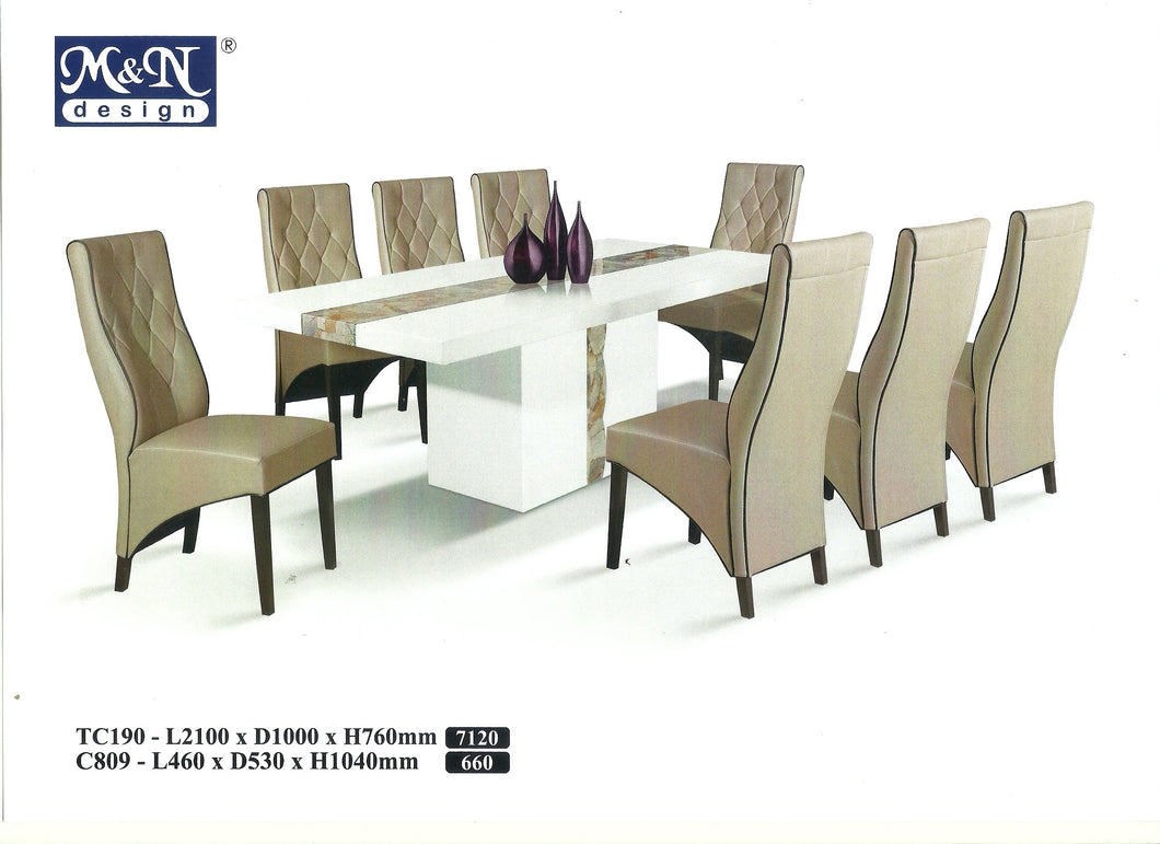 M&N-Dining Table-Rectangle(1+8)-TC190-2.1M