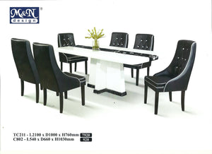 M&N - Marble Dining Table Set - Rectangle - TC211+C802 (1+8)