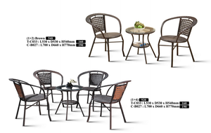 M&N - Outdoor Garden Set - Round - TC033+B027-Brown