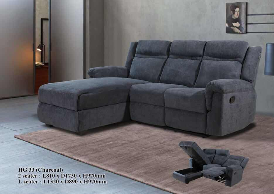 Fabric Sofa - L-Shaped - HG33 - Charcoal