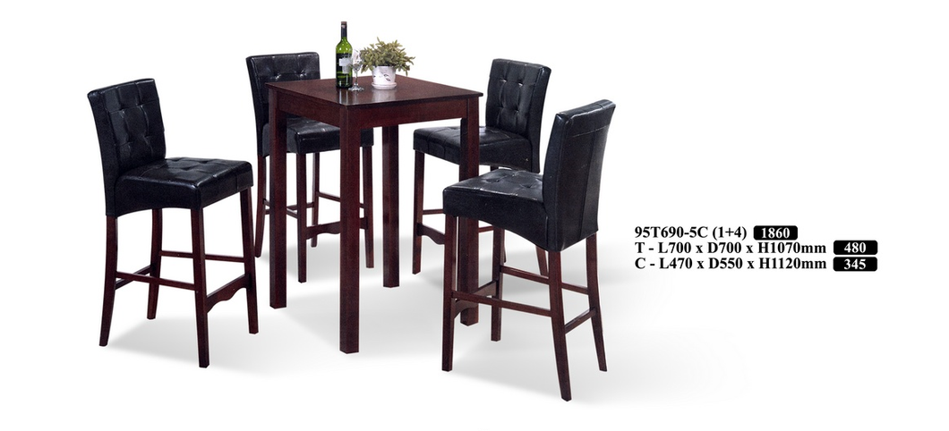 Wood Bar Table Set - 95T690-5C