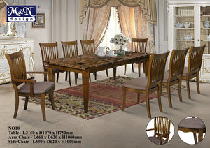 M&N -Wood Dining Table Set - Rectangle - No-18 (1+8)