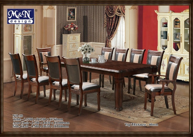 M&N -Wood Dining Table Set - Rectangle - No-10 (1+10)