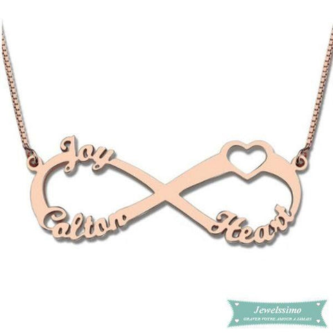 collier infini or rose