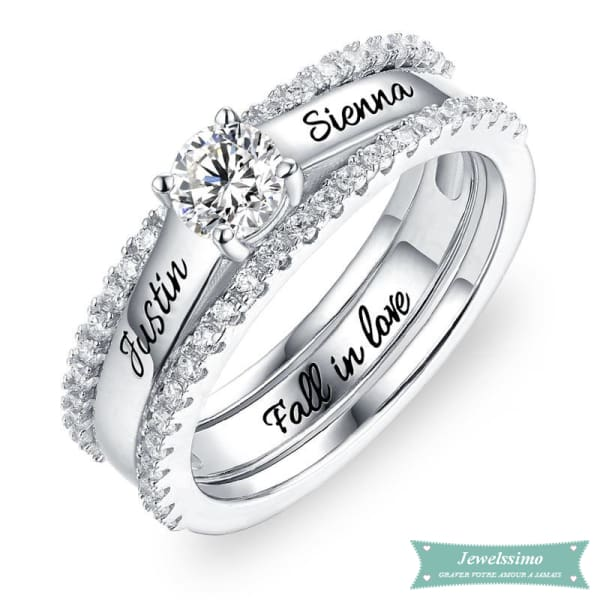 Bague De Promesse Fall In Love En Argent Sterling 925 52 - 6 Bague Couple
