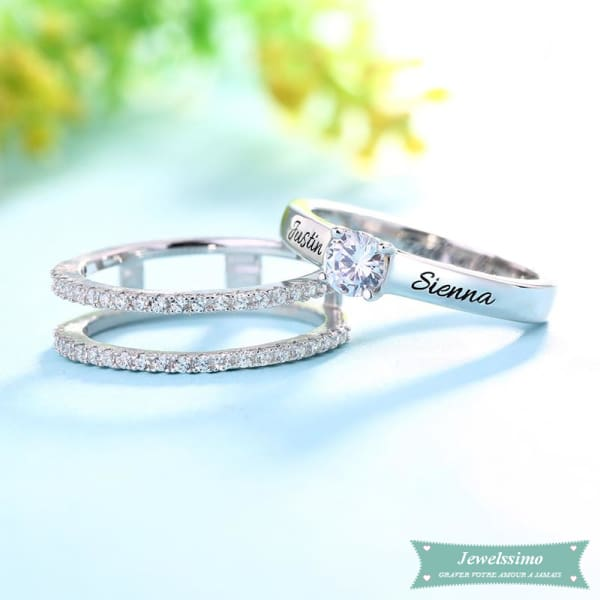 Bague De Promesse Fall In Love En Argent Sterling 925 Bague Couple
