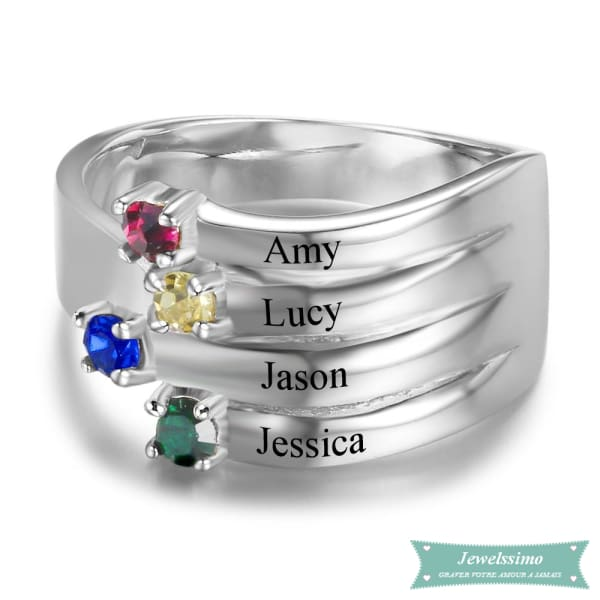 Bague Famille 4 Prénoms Family Is Everything En Argent 925