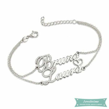 Bracelet Couple We Love Us 2 En Argent 925 (Traduction Arabe Possible) 14Cm Bracelet Couple
