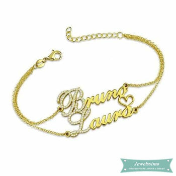 Bracelet Couple We Love Us 2 En Plaqué Or Jaune (Traduction Arabe Possible) 14Cm Bracelet Couple