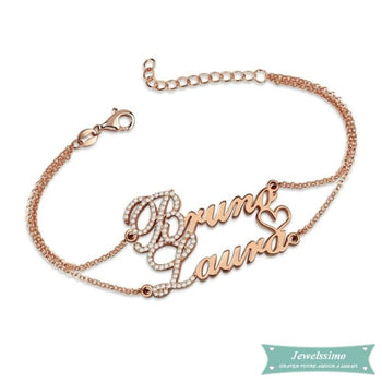 Bracelet Couple We Love Us 2 En Plaqué Or Rose (Traduction Arabe Possible) 14Cm Bracelet Couple