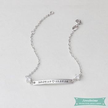 Bracelet Date Of Birth En Argent Rhodié Bracelet Couple