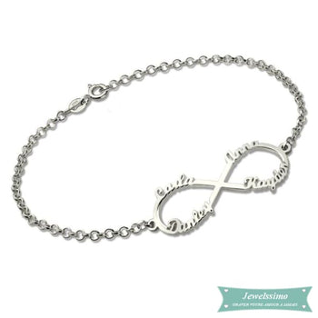 Bracelet Infini All Of You 1 À 4 Prénoms En Argent 925 14Cm Bracelet Infini