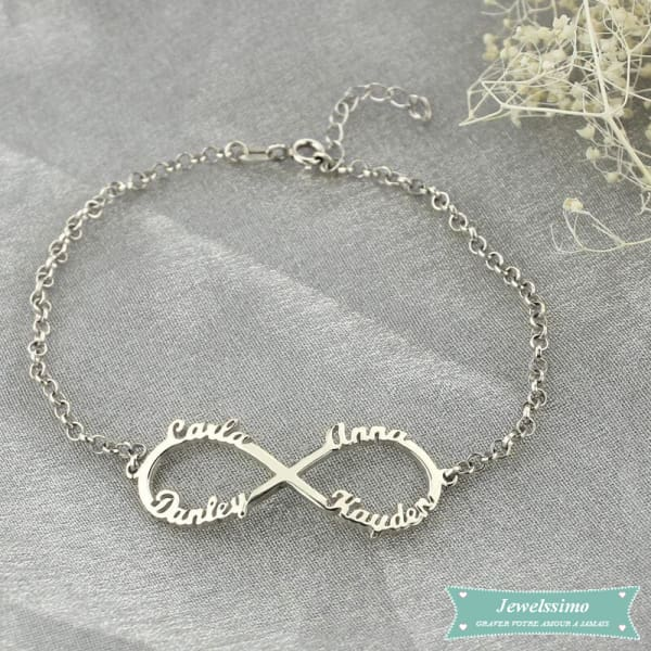 Bracelet Infini All Of You 1 À 4 Prénoms En Argent 925