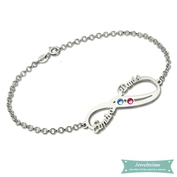 Bracelet Infini So In Love 2 Prénoms En Argent 925 14Cm Bracelet Infini