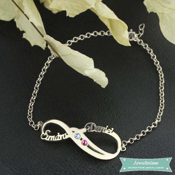 Bracelet Infini So In Love 2 Prénoms En Argent 925
