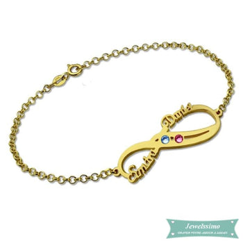Bracelet Infini So In Love 2 Prénoms En Plaqué Or Jaune 14Cm Bracelet Infini
