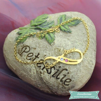 Bracelet Infini So In Love 2 Prénoms En Plaqué Or Jaune