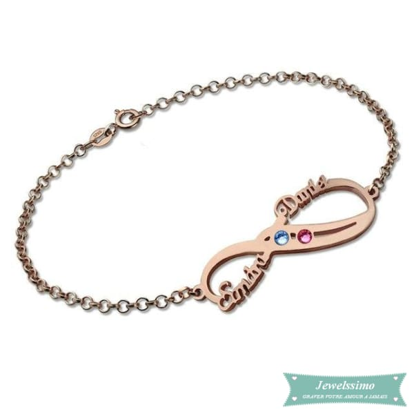 Bracelet Infini So In Love 2 Prénoms En Plaqué Or Rose 14Cm Bracelet Infini