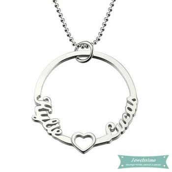Collier couple Cercle de lamour en argent sterling 35cm Couple