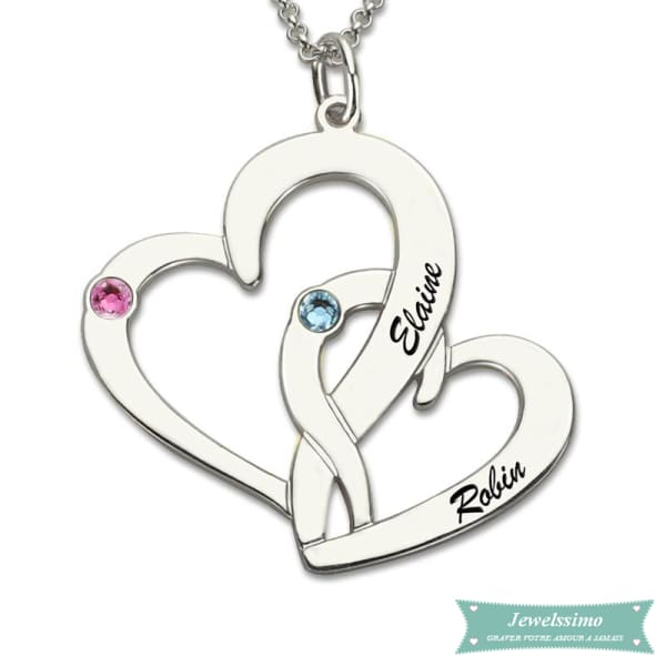 Collier Couple Coeur En Fusion En Argent Sterling 925 35Cm Couple