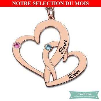 Collier Couple Coeur En Fusion Plaqué Or Rose Couple