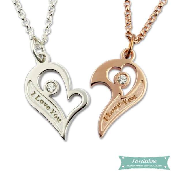Collier Couple Coeur Séparable En Argent Sterling Couple