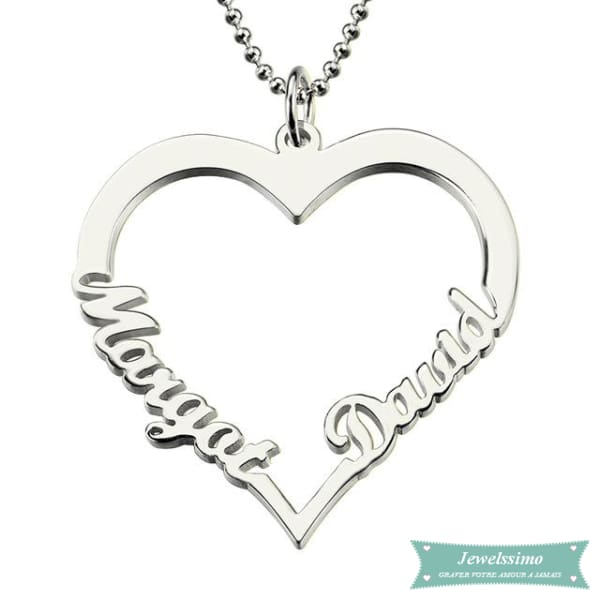 Collier couple Heart en argent sterling 35cm Couple
