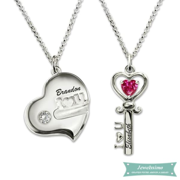 Collier Couple Key To My Heart En Argent Sterling 925 Couple