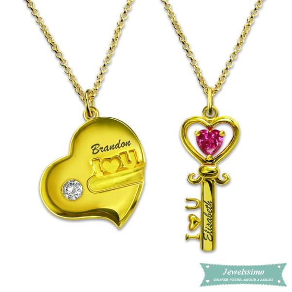 Collier Couple Key To My Heart En Plaqué Or Couple