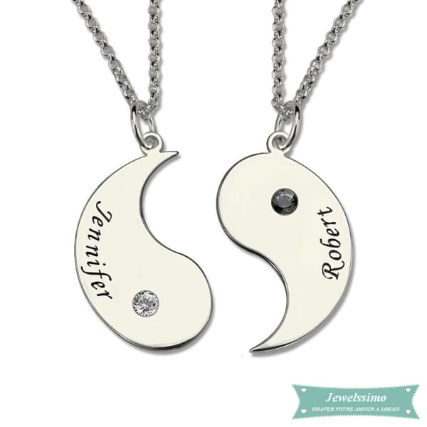 Collier Couple Yin Yang En Argent Sterling 925 Argent / 35Cm Couple