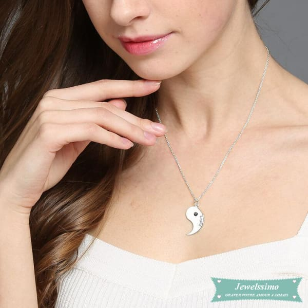 Collier Couple Yin Yang En Argent Sterling 925 Couple