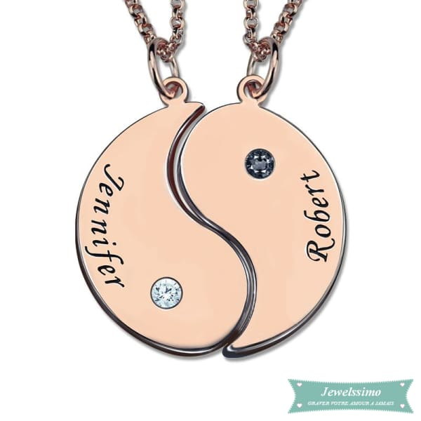 Collier Couple Yin Yang En Plaqué Or Rose 35Cm