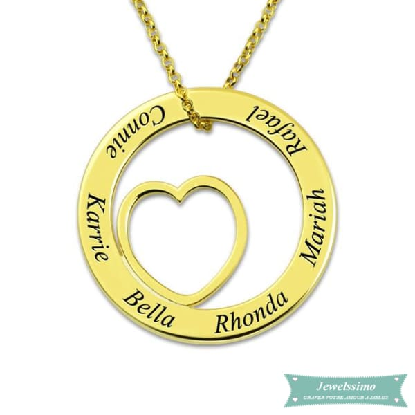 Collier famille I will always Love you en plaqué or jaune 35cm Famille