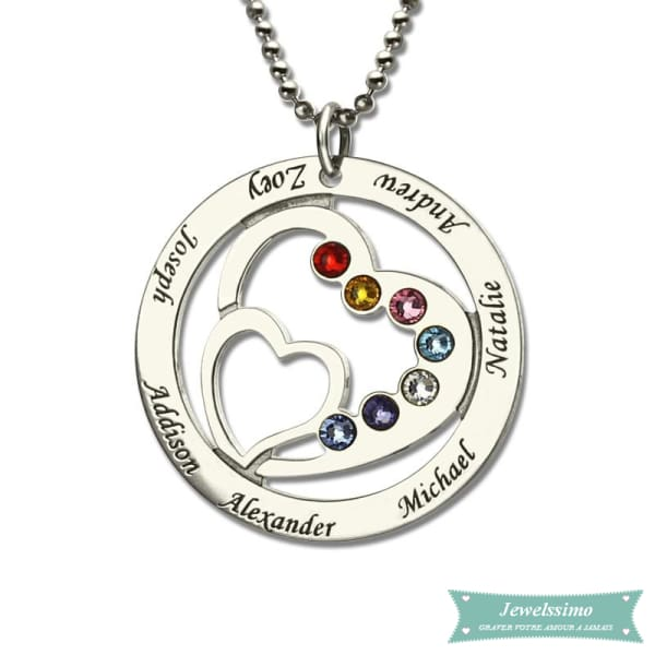 Collier Famille Into My Heart En Argent Sterling 35Cm Famille
