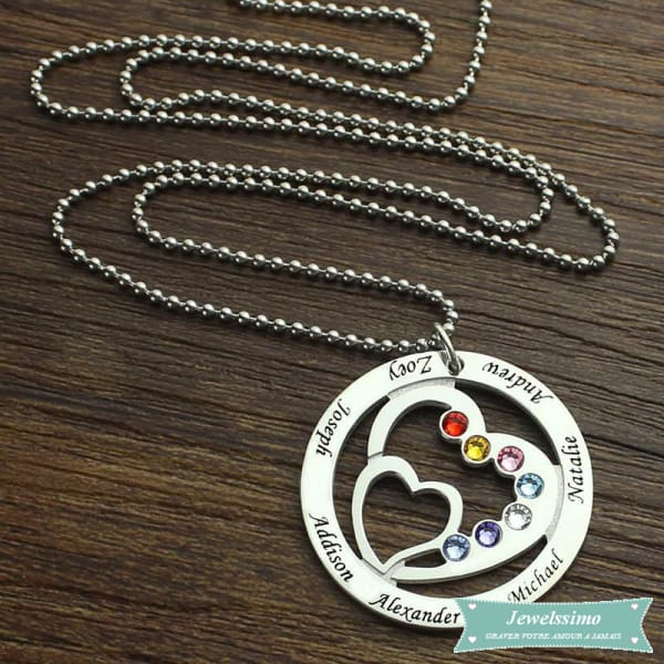 Collier Famille Into My Heart En Argent Sterling Famille