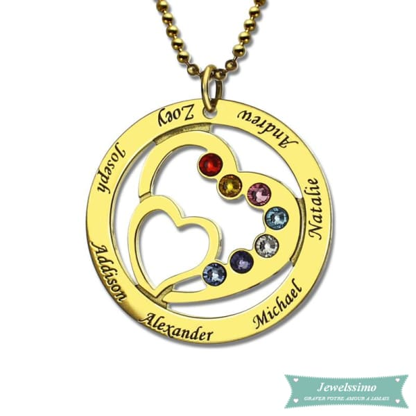 Collier Famille Into My Heart En Plaqué Or 35Cm Famille