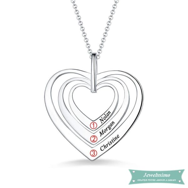 Collier Famille Sweet Heart En Argent Sterling 925