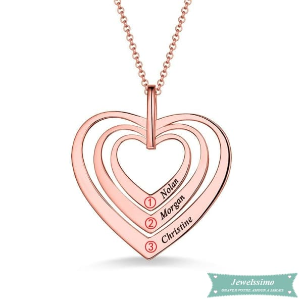 Collier Famille Sweet Heart En Plaqué Or Rose
