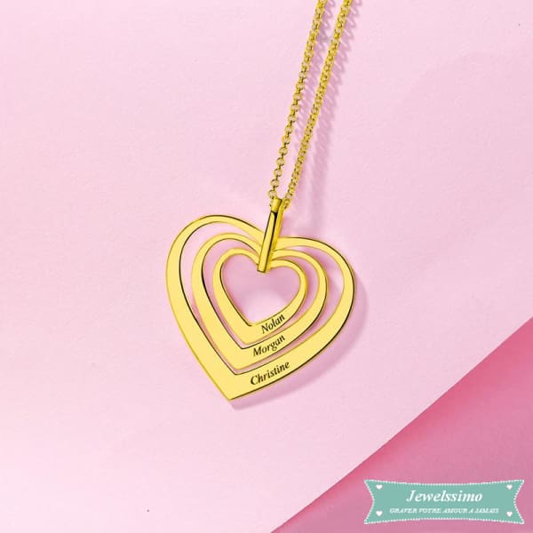 Collier Famille Sweet Heart En Plaqué Or