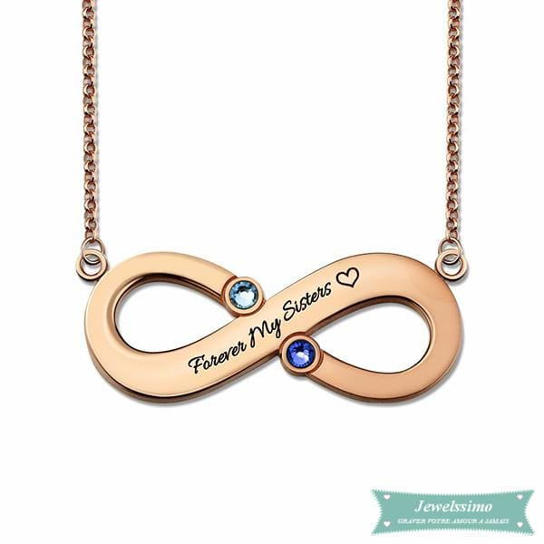 Collier Infini Forever My Sisters Plaqué Or Rose 35Cm Infini