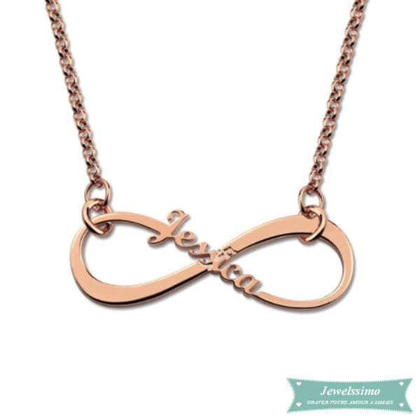 Collier Infinity Plaqué Or Rose 35Cm Infini