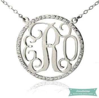Collier monogramme Diamant Argent sterling / 35cm collier monogramme