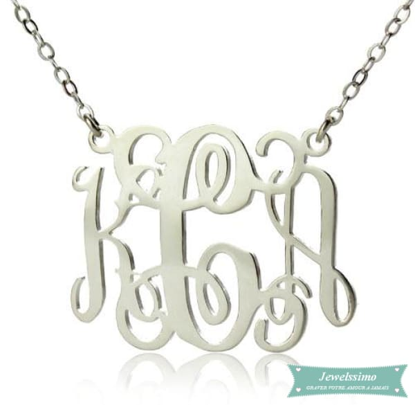 Collier monogramme Elegant 3 lettres initiales Argent sterling / 35cm collier monogramme