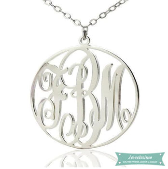 Collier monogramme So chic 3 lettres initiales Argent sterling / 35cm collier monogramme