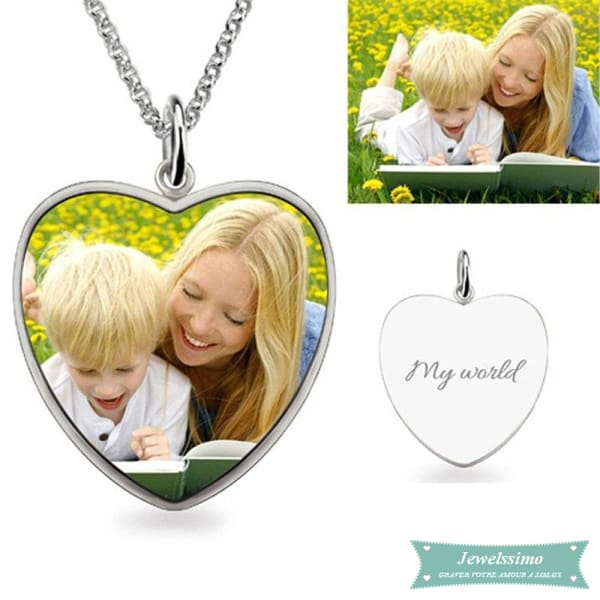 Collier photo Coeur Secret en couleur 35cm pendentif photo
